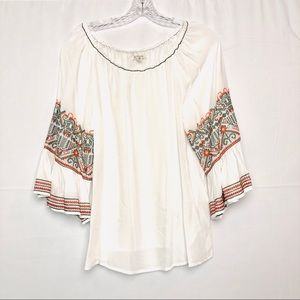 Max Studio Embroidered Sleeves Top